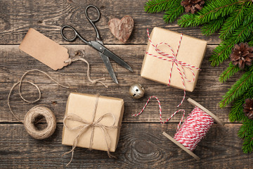 Christmas and New Year background with decorations and wrapped gifts