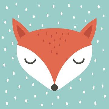 cute fox cartoon illustration, cartoon animal portrait with sleepy fox face