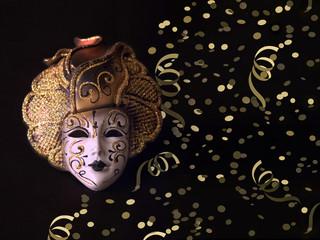 Maschera di carnevale  Veneziana e decorazioni festive
