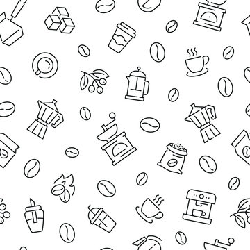 Seamless pattern with coffee. Black and white thin line icons