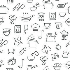 Estores personalizados con tu foto Seamless pattern with cooking. Black and white thin line icons