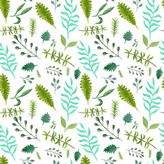 Tender greenery seamless pattern with green and blue leaves and branches. Watercolor botanical texture with for textile, wrapping paper, print design, surface, background