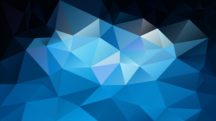 vector abstract irregular polygonal background - triangle low poly pattern - sky blue black color