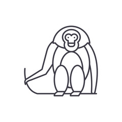 Monkey line icon concept. Monkey vector linear illustration, sign, symbol