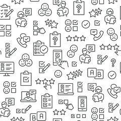 Seamless pattern with survey. Black and white thin line icons