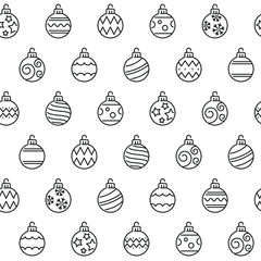 Seamless pattern with Christmas balls. Black and white thin line icons