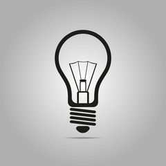Gray light bulb icon in flat design. Vector illustration isolated on white gradient background.
