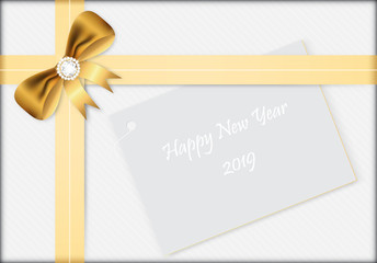 Happy new year 2019 gift with golden bow and ribbon vector illustration