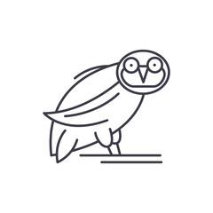Owl line icon concept. Owl vector linear illustration, sign, symbol