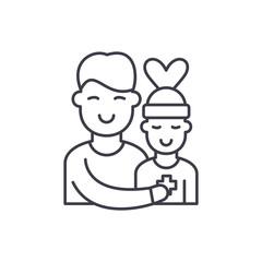 Patient care line icon concept. Patient care vector linear illustration, sign, symbol