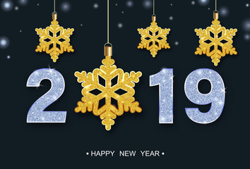 Happy New Year 2019 festive poster with golden shiny snowflakes.