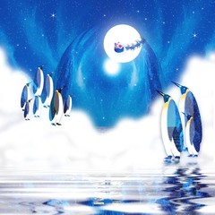 Graphic illustration of Penguins viewing the Northern lights in the cold Artic and seeing Santa Claus and reindeers flying across moon.