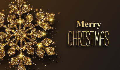 Merry Christmas greeting card with golden shiny snowflake.