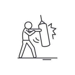 Punchbag line icon concept. Punchbag vector linear illustration, sign, symbol