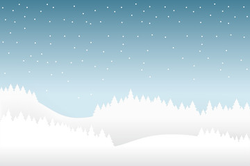 Snow and winter season background with forest landscape