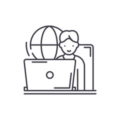 Remote work line icon concept. Remote work vector linear illustration, sign, symbol