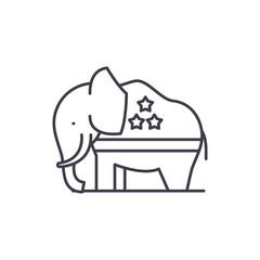Republican elephant line icon concept. Republican elephant vector linear illustration, sign, symbol