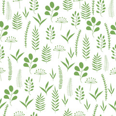 Green herbs and leaves seamless pattern. Scandinavian background. Nature style.