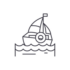 Sailing line icon concept. Sailing vector linear illustration, sign, symbol
