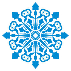 Illustration of a blue snowflake, thickened lines are depicted in a rougher way.