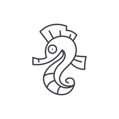 Sea horse line icon concept. Sea horse vector linear illustration, sign, symbol