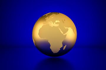 3D render: Golden globe showing Africa in front of blue background