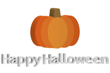 Halloween pumpkin with text isolated on white for Happy Halloween - cartoon 3d render