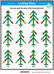 IQ training visual puzzle with mirrored images of abstract decorated christmas trees: Match the pairs - find the exact mirror copy for every picture. Answer included.