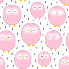 Owl cute seamless pattern background, cartoon vector illustration