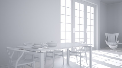 Total white project of classic kitchen, dining table laid for two with chairs, big panoramic window, minimalist modern interior design