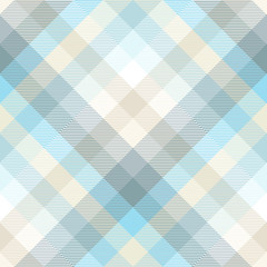 Plaid pattern in shades of pastel blue, teal and tan