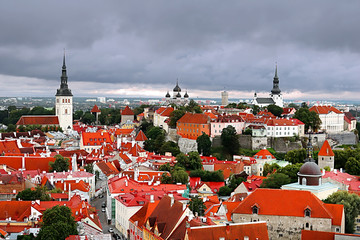 Aerial view of old town in Tallinn, Estonia