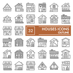 Houses thin line icon set, cottages symbols collection, vector sketches, logo illustrations, home signs linear pictograms package isolated on white background, eps 10.