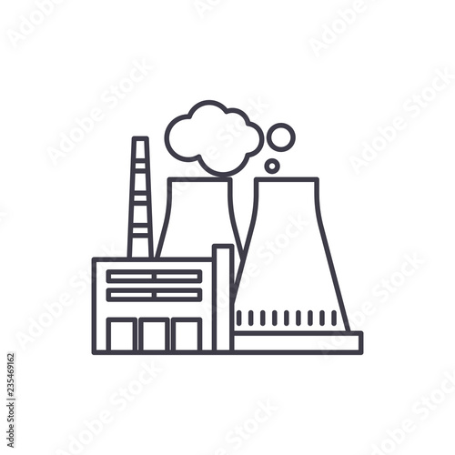 thermal power plant line icon concept thermal power plant vector Thermal Power Production thermal power plant line icon concept thermal power plant vector linear illustration, sign, symbol