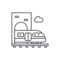 Train line icon concept. Train vector linear illustration, symbol, sign