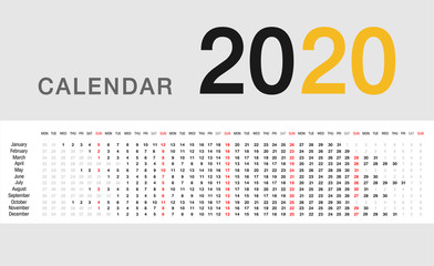 Colorful Calendar year 2020 vector design template, simple and clean design. Calendar for 2020 on White Background for organization and business. Week Starts Monday. Simple Vector Template. EPS10.