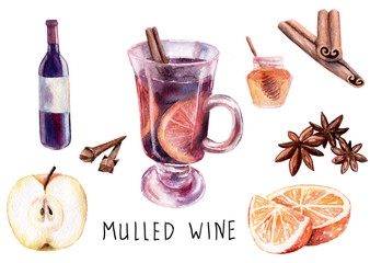 watercolor drawing. composition of mulled wine set