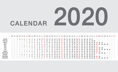 Calendar year 2020 vector design template, simple and clean design. Calendar for 2020 on White Background for organization and business. Week Starts Monday. Simple Vector Template. EPS10.