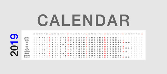 Colorful Calendar year 2019 vector design template, simple and clean design. Calendar for 2019 on White Background for organization and business. Week Starts Monday. Simple Vector Template. EPS10.