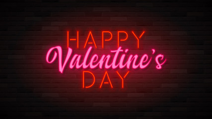 Happy Valentine's Day neon banner. Color card design with 3d glowing neon letters. Vector illustration with light banner.
