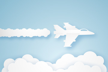 Fighter aircraft flying in the sky , paper art style