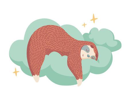 cute cartoon sloth sleeping on cloud with stars around. healthy sleep concept. colorful cartoon animal illustration