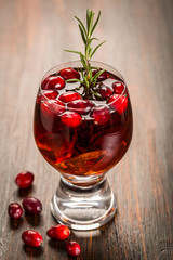 Mulled wine or hot punch with cranberries for Xmas