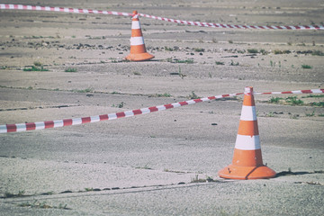Fencing tape and Traffic cone