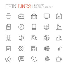 Collection of business related icons. Editable stroke