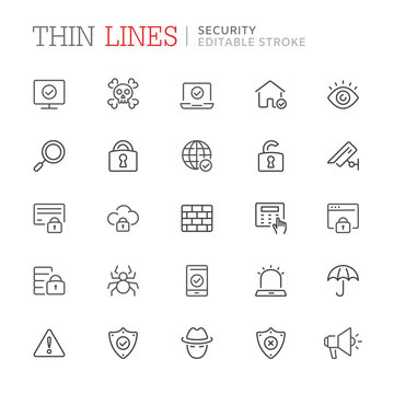Collection of security relared line icons. Editable stroke