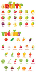 Vector fruits and vegetables icon set