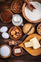 Variation of baking ingredients for Christmas cookies