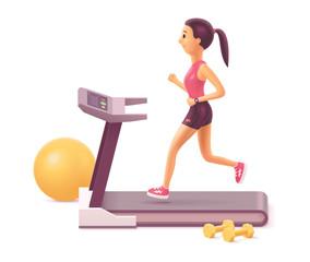 Vector woman running on treadmill