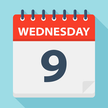 Wednesday 9 - Calendar Icon. Vector illustration of week day paper leaf.